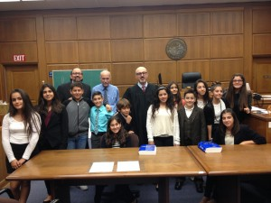 ASA's 2014 CRF Mock Trial team (partial) with (L-R) attorney-coach Sarkis Jacob Babachanian, teacher-coach Will Bassett, and the Hon. Zaven Sinanian, judge of the Los Angeles County Superior Court.