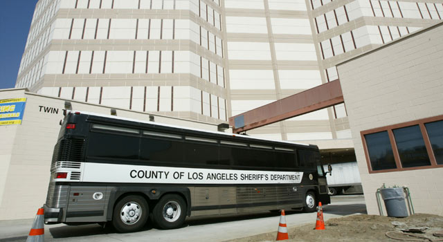 Buses at Los Angeles County Jail