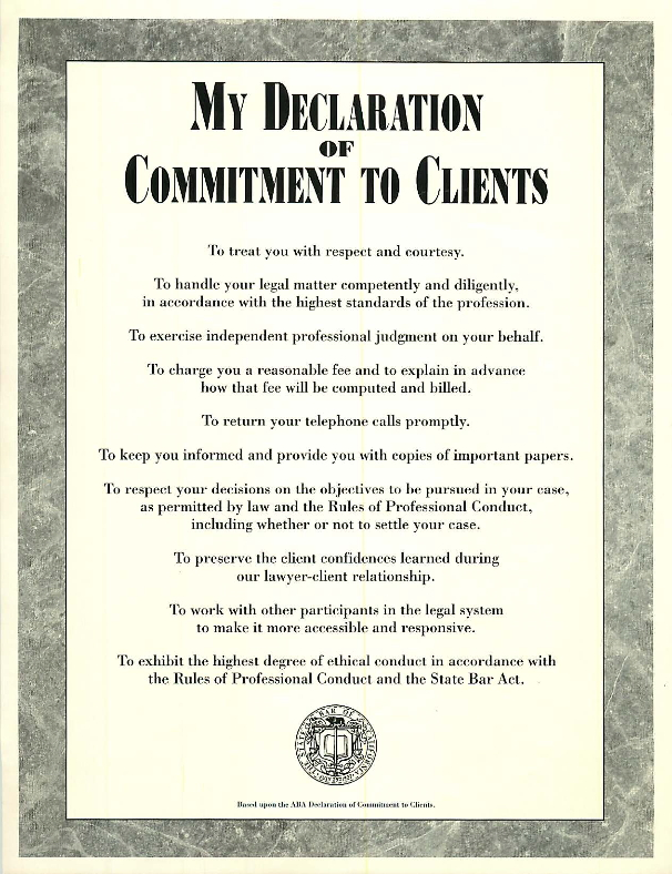 Attorney Declaration of Commitment to Clients